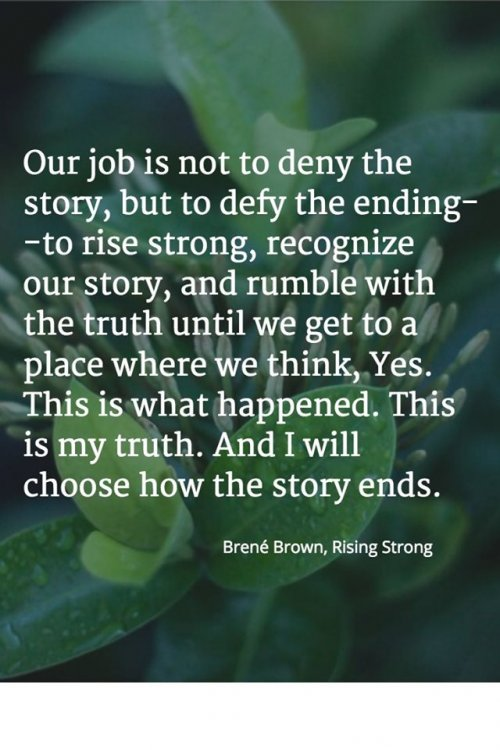 Image may contain: nature, text that says 'Our job is not to deny the story, but to defy the ending- -to rise strong, recognize our story, and rumble with the truth until we get to a place where we think, Yes. This is what happened. This is my truth. And I will choose how the story ends. Brené Brown, Rising Strong'